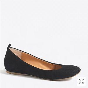 J. CREW • Anya black suede leather ballet flats